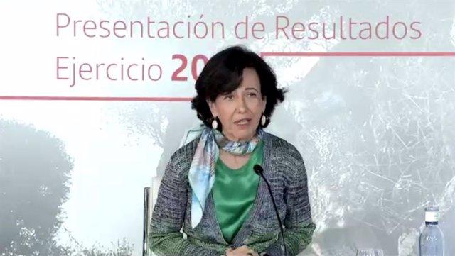 La presidenta del Santander, Ana Botín, en la presentación de resultados 2020.