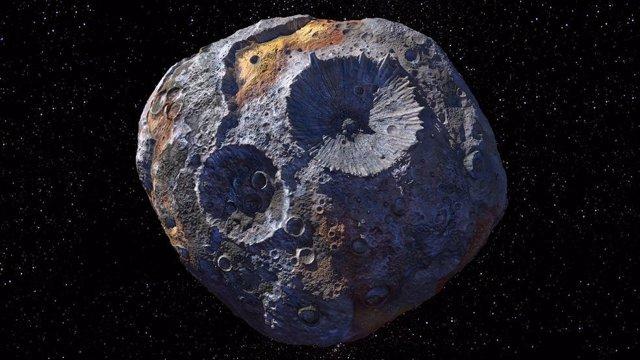 Esta ilustración muestra el objetivo de la misión Psyche: el asteroide Psyche, localizado en el cinturón principal de asteroides entre Marte y Júpiter.