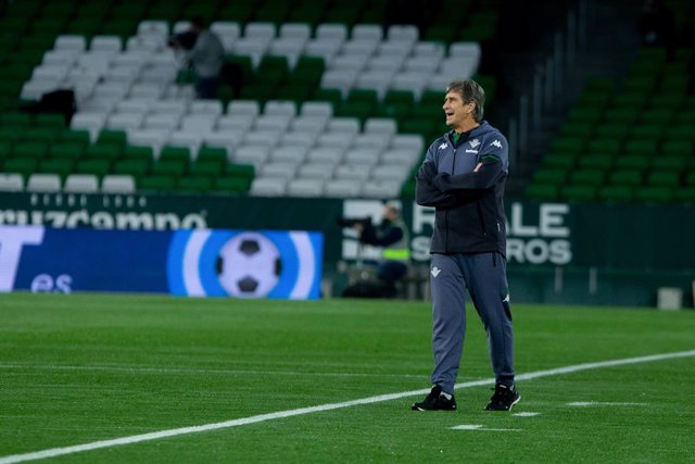 Manuel Pellegrini, coach of Real Betis, during 1/8 round of Copa del Rey, football match played between Real Betis Balompie and Real Sociedad at Benito Villamarin Stadium on January 26, 2021 in Sevilla, Spain.