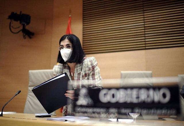 La ministra de Sanidad, Carolina Darias, durante una comparecencia en la Comisión de Sanidad y Consumo, en Madrid, (España)