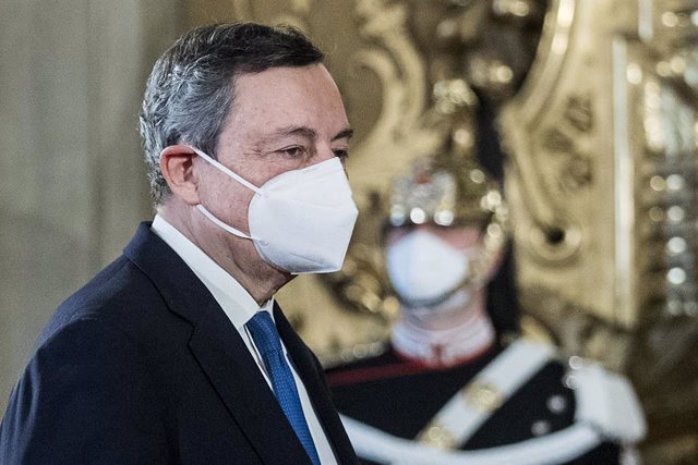 03 February 2021, Italy, Rome: Former President of the European Central Bank Mario Draghi arrives for a meeting with Italian President Sergio Mattarella at the Quirinal Palace for consultations to form a new government following the resignation of Prime M