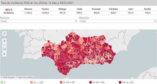 Mapa de incidencia del Covid-19 en Andalucía por municipios a 3 de febrero de 2021