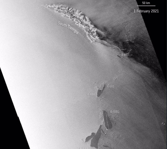 Desintegración del iceberg A68A a principios de febrero de 2021