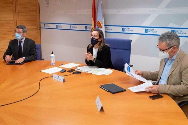 La conselleira de Infraestruturas e Mobilidade, Ethel Vázquez, durante la rueda de prensa