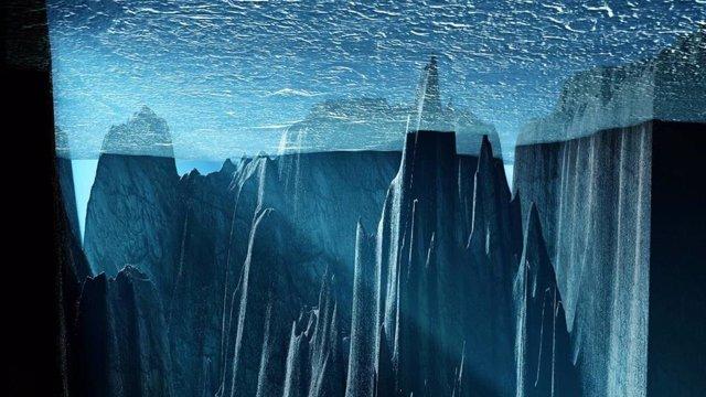 Impresión artística de la perspectiva desde el interior del océano glacial, con una vista desde abajo hacia Islandia y las Islas Feroe