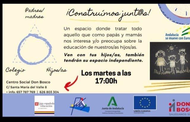 Cartel de la Escuela de Convivencia Familiar.