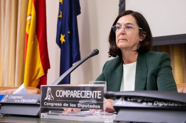 La presidenta de la CNMC, Cani Fernández, durante su comparecencia ante la Comisión de Asuntos Económicos del Congreso