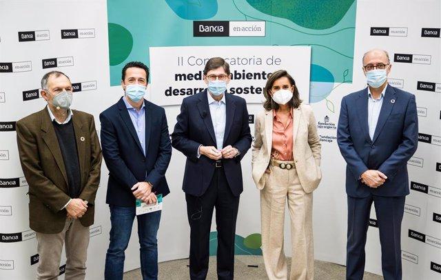 Imagen del presidente de Bankia, José Ignacio Goirigolzarri; de la directora general adjunta de Comunicación y Relaciones Externas de Bankia, Amalia Blanco, y del resto de participantes en el encuentro virtual de reconocimiento