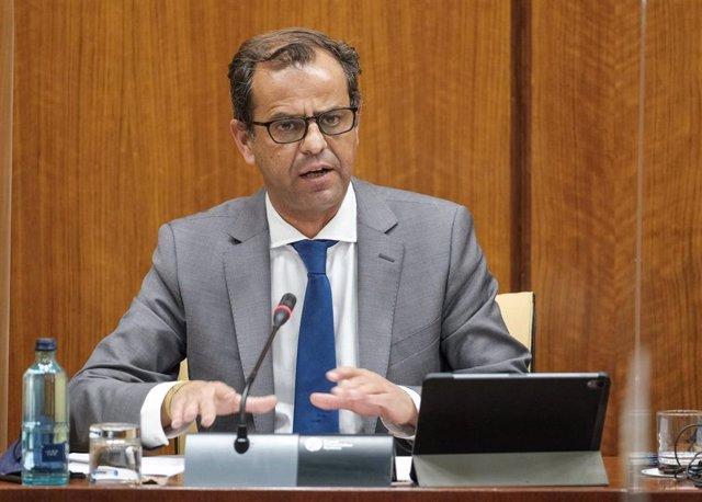 El director general de la RTVA, Juan de Dios Mellado, este miércoles en comisión parlamentaria.