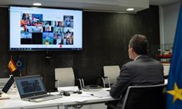 El ministro de Ciencia e Innovación, Pedro Duque, en el Consejo Informal de Competitividad de la UE que se ha celebrado este miércoles de forma telemática