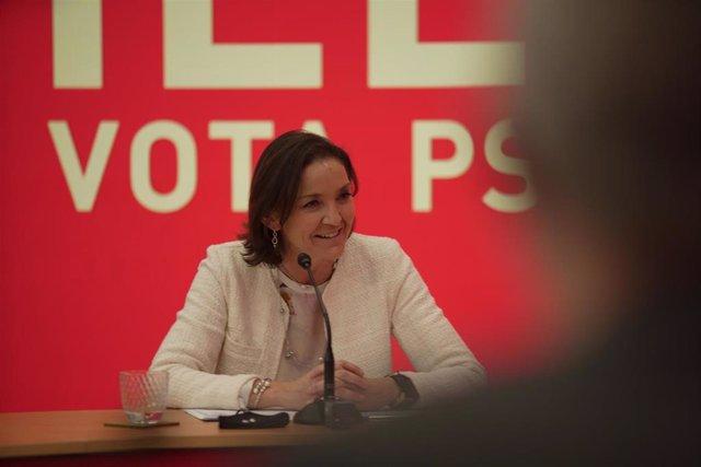 La ministra de Industria, Comercio y Turismo, Reyes Marato, durante un acto telemático de la campaña del PSC para las elecciones del 14 de febrero.