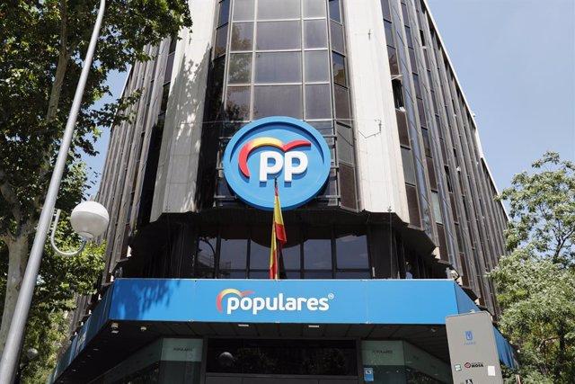 Edificio de la sede del PP, situado en la calle Génova, en Madrid (España), a 24 de julio de 2020.