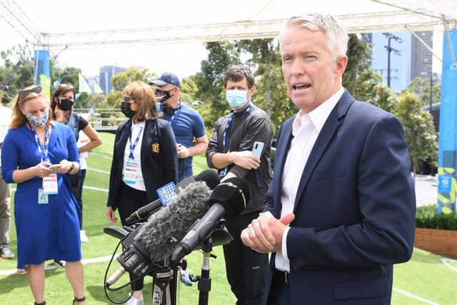 Tennis Australian CEO Craig Tiley speaks to the media at Melbourne Park in Melbourne, Thursday, February 4, 2021. Australian Open preparations are on hold and all lead in events, The ATP Cup and Melbourne Summer Series have been postponed after a hotel wo