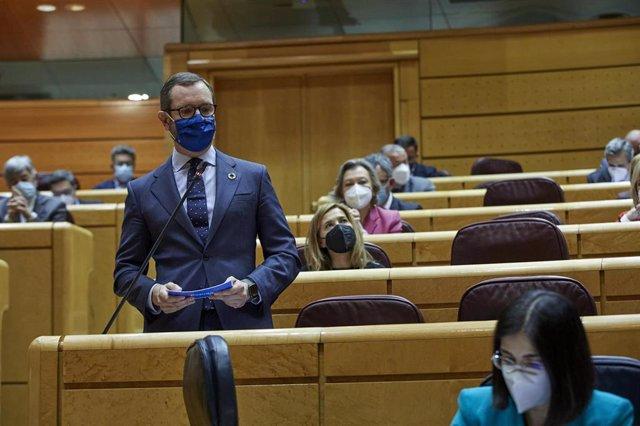 El portavoz del PP en el Senado, Javier Maroto durante una sesión de control al Gobierno en el Senado, en Madrid (España), a 2 de febrero de 2021.