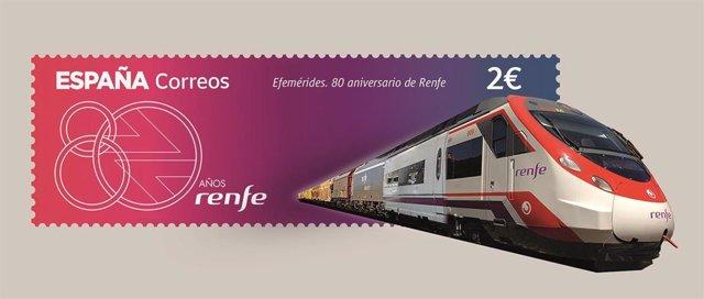 Sello de Correos que conmemora el 80 aniversario de Renfe