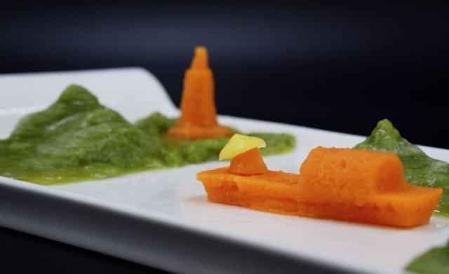 Un 'paisaje alimentario' ensamblado con diseños impresos en 3D hechos de guisantes, zanahorias y maíz.