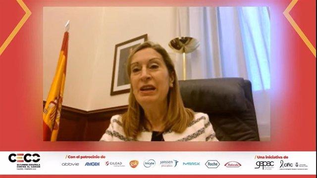La vicesecretaria de Política Social del Partido Popular, Ana Pastor,  durante la III Cumbre Española Contra el Cáncer, organizada por el Grupo Español de Pacientes con Cáncer (GEPAC)