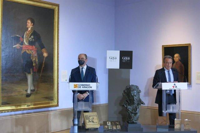 El presidente de Aragón, Javier Lambán, y su homólogo en la Diputación de Zaragoza, Juan Antonio Sánchez Quero, presentan la programación del 275 aniversario del nacimiento de Francisco de Goya.