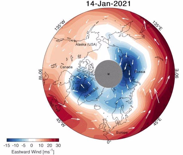 Cambios de dirección en el vórtice polar este invierno