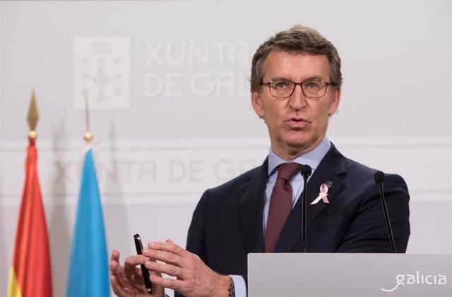 El presidente de la Xunta, Alberto Núñez Feijóo, en rueda de prensa tras el Consello de la Xunta