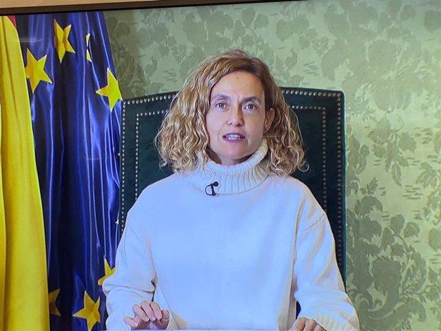 La presidenta del Congreso de los Diputados, Meritxell Batet, interviene de forma telemática en la inauguración del 'III Women Business & Justice European Forum'. El 4 de febrero de 2021.