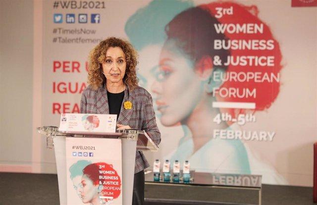 La consellera de Justicia, Ester Capella, en el 'III Women Business & Justice European Forum', el 4 de febrero de 2021.