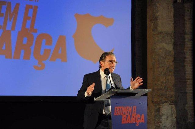El responsable del área económica de la candidatura 'Estimem el Barça', Jaume Giró, en un acto de campaña de la candidatura liderada por el presidenciable del FC Barcelona Joan Laporta