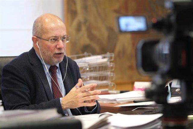 Francisco Igea, durante su intervención en el debate sobre la estrategia de vacunas en el Comité Europeo de las Regiones.