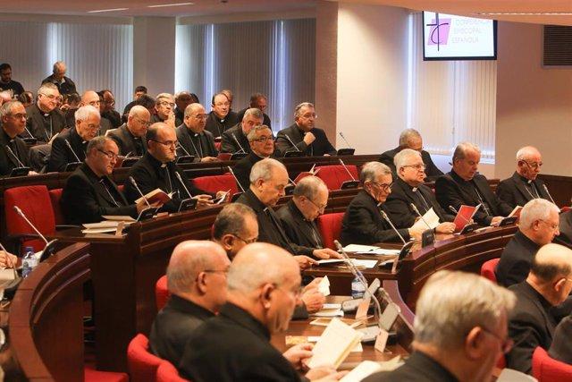 Obispos reunidos en una asamblea plenaria antes de la pandemia.