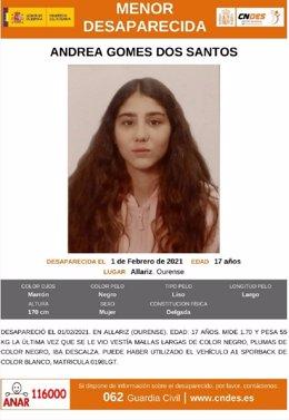 Cartel difundido por la Policía Nacional sobre la menor desaparecida