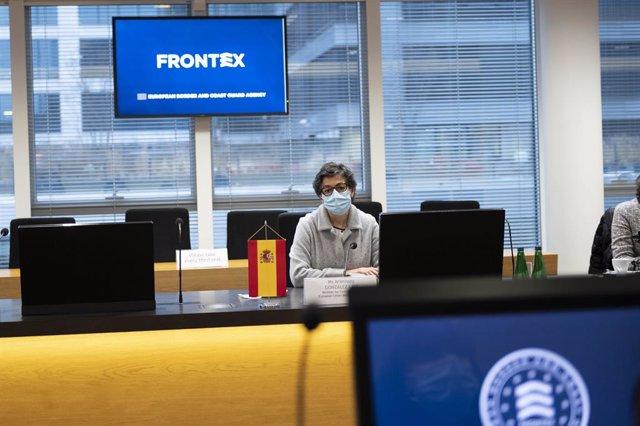 La ministra de Asuntos Exteriores, UE y Cooperación, Arancha González Laya, visita la sede de Frontex en Varsovia