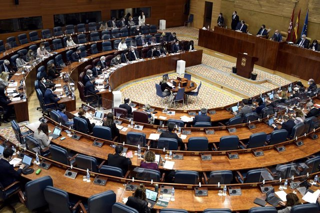Vista del hemiciclo durante una sesión plenaria en la Asamblea de Madrid