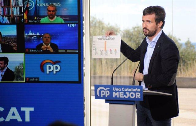 El president del PP, Pablo Casado intervé durant un acte de campanya.