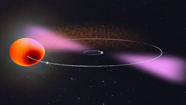 Impresión artística del PSR J2039-5617 y su compañero. El sistema binario consta de una estrella de neutrones que gira rápidamente