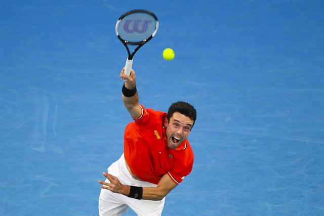 Roberto Bautista Agut of Spain in action during Round 1 of the ATP Cup against Alex de Minaur of Australia at Melbourne Park in Melbourne, Tuesday, February 2, 2021. (AAP Image/Dave Hunt) NO ARCHIVING, EDITORIAL USE ONLY