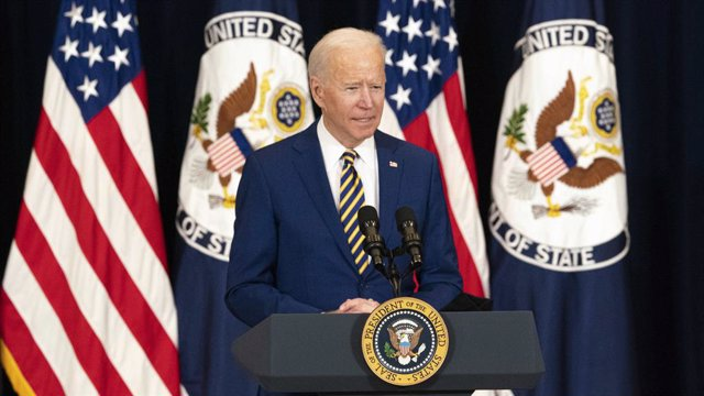 04 February 2021, US, Washington: US President Joe Biden delivers remarks in his first major address on foreign policy during a press conference at the Department of State Harry S. Truman Building. Photo: Freddie Everett/State Department/Planet Pix via ZU