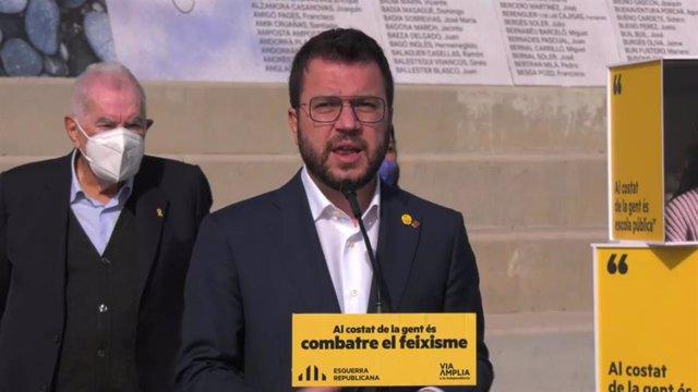 El vicepresidente de la Generalitat en funciones y candidato de ERC a la Presidencia, Pere Aragonès, en un acto de campaña.