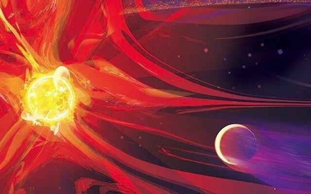 Impresión artística de la muy joven enana roja eruptiva AU Mic y su planeta AU Mic b recientemente descubierto. Al fondo se puede ver el disco de escombros a partir del cual se formó el planeta