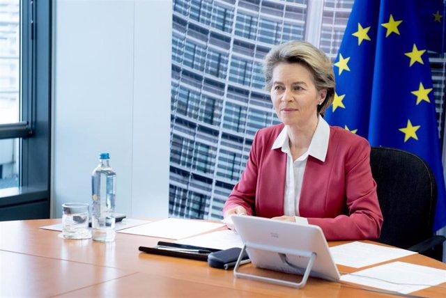 European Commission President Ursula von der Leyen takes .