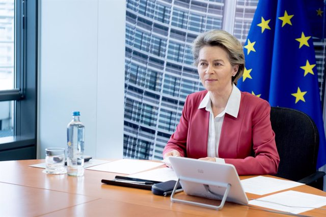 HANDOUT - 31 January 2021, Belgium, Brussels: European Commission President Ursula von der Leyen takes part in a video conference with seven chief executives from pharmaceutical firms with EU Covid-19 vaccine supply contracts. Photo: Etienne Ansotte/Europ