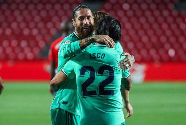 Sergio Ramos e Isco celebran un gol del Real Madrid