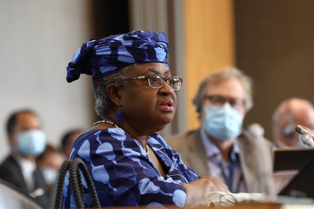 HANDOUT - 15 July 2020, Switzerland, Geneva: Nigerian economist, international development expert and candidate for General Director of the World Trade Organization (WTO) Ngozi Okonjo-Iweala delivers a speech at the General Council meeting during the elec