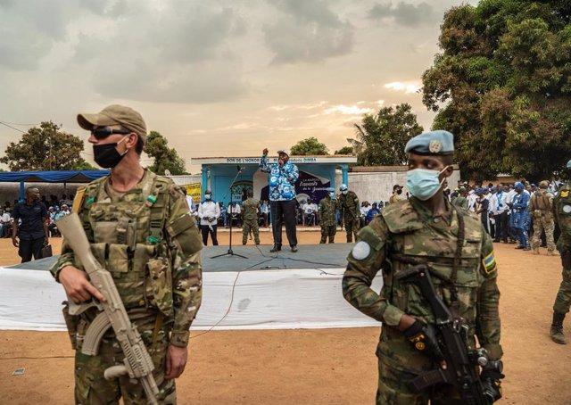 El presidente de RCA, Faustin-Archange Touadéra, en un mitin en Bangui
