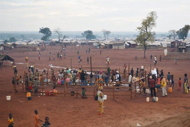 Campo de personas desplazadas en Bria, República Centroafricana