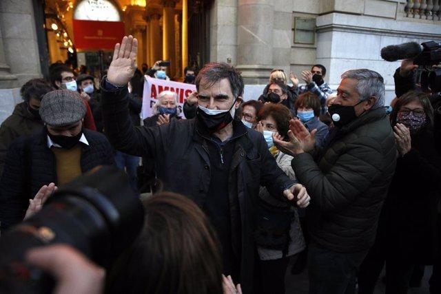 El president d'Òmnium Cultural, Jordi Cuixart a la seva sortida d'un acte unitari de partits independentistes, als Jardins del Palau Robert, Barcelona, Catalunya (Espanya), 1 de febrer del 2021.