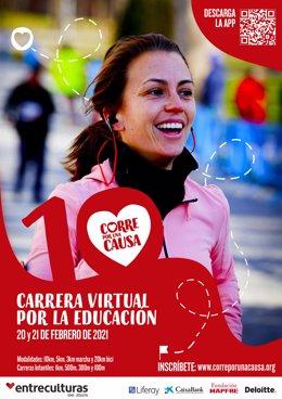 Cartel de la X carrera solidaria de Entreculturas