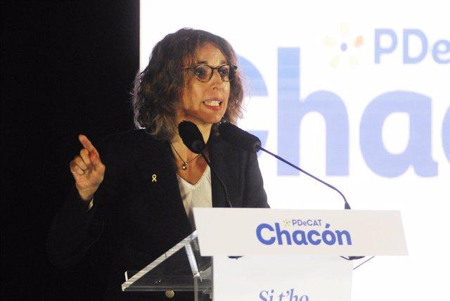 La candidata del PdeCAT a la Presidència de la Generalitat, Àngels Chacón intervé durant l'inici de campanya del PDeCAT, en el Recinte Modernista Sant Pau, a Barcelona, Catalunya (Espanya), a 28 de gener de 2021.