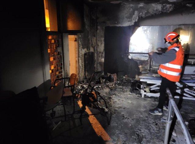 Afectació de l'incendi en una residència de Manresa (Barcelona).