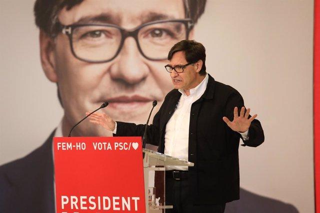 El candidat del PSC a les eleccions catalanes, Salvador Illa, durant un míting telemàtic a Salou (Tarragona).