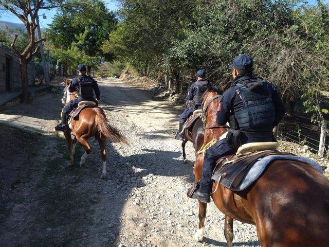 Policía a caballo en el estado de Tamaulipas, en México